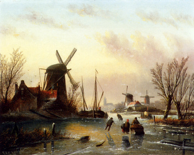 Spohler Jan Jacob Coenraad A Frozen River Landscape