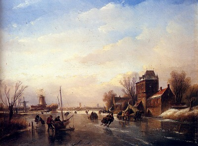 Spohler Jan Jacob Skaters On A Frozen River
