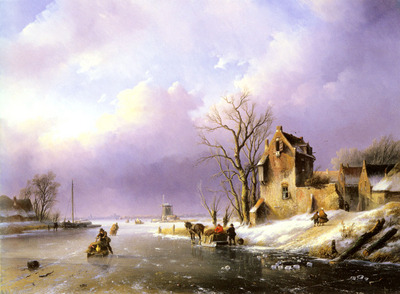 Spohler Jan Jacob Winter landscape With Figures On A Frozen River