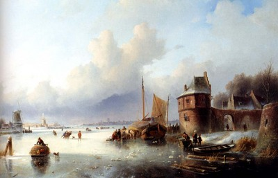 Spohler Jan jacob A Winter Landscape With Numerous Skaters On A Frozen Waterway