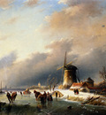 Jan Jacob Spohler Figures Skating on a Frozen River