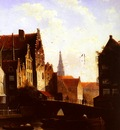 Spohler Jacob Jan Coenraad Figures on a bridge in a Dutch Town Part2