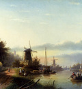 Spohler Jan Jacob Coenraad Boats On A Dutch Canal