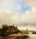 Spohler Jan Jacob Travellers On A Path Haarlem In The Distance