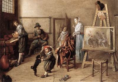MOLENAER Jan Miense Painter In His Studio Painting A Musical Company