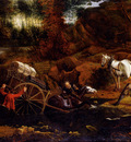 Siberechts Jan Figures With A Cart And Horses Fording A Stream