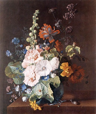 HUYSUM Jan Van Holycocks and other Flowers in a Vase