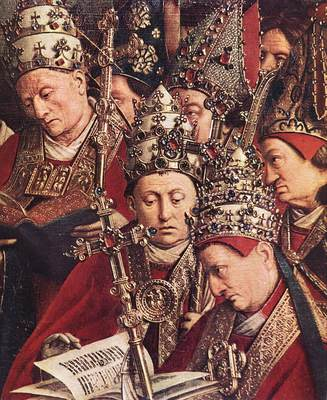 Eyck Jan van The Ghent Altarpiece Adoration of the Lamb detail bottom right