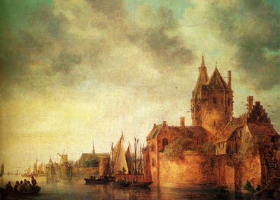Goyen Jan Josefsz Van A Castle By A River With Shipping At A Quay