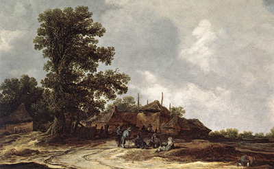 Goyen Jan van Farmyard with Haystack