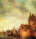 Goyen Jan Josefsz Van A Castle By A River With Shipping At A Quay