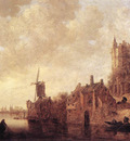 Goyen Jan van River Landscape with a Windmill and a Ruined Castle