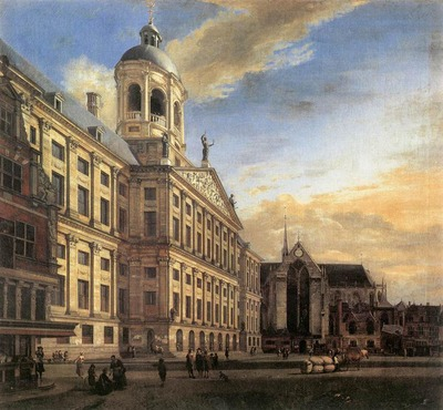 HEYDEN Jan van der Amsterdam Dam Square With The Town Hall And The Nieuwe Kerk