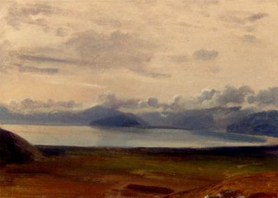 Gibert Jean Baptiste Adolphe Moon Over Mount Vesuvius