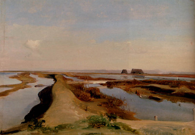 Gibert Jean Baptiste Adolphe The Salt Marshes Ostia