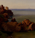 Gibert Jean Baptiste Adolphe A Rocky Outcrop With A Moored Boat And Ruined Watchtower Cefalu