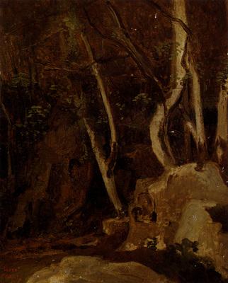 Corot Jean Baptiste Camille A Civita Castellana Rochers Boises