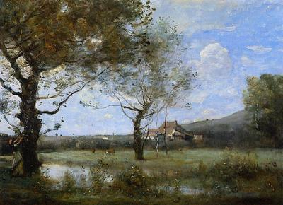 Corot Meadow with Two Large Trees