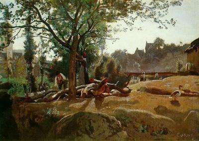 Corot Peasants under the Trees at Dawn Morvan