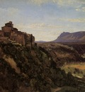 Corot Papigno Buildings Overlooking the Valley