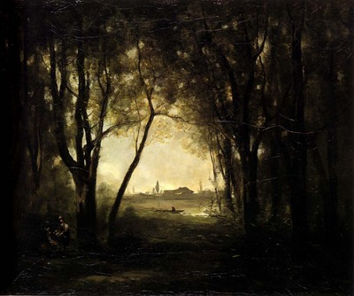 Corot Camille Landscape with A Lake