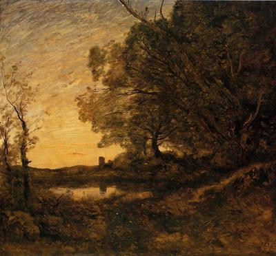 Corot Evening Distant Tower