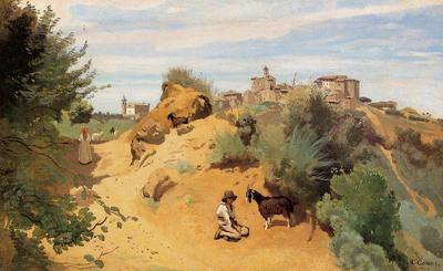 Corot Genzano Goatherd and Village