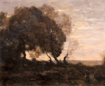 Corot Jean Baptiste Camille Arbres Tordus Sur Une Crete