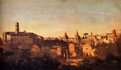 Corot Jean Baptiste Camille Forum Viewed From The Farnese Gardens