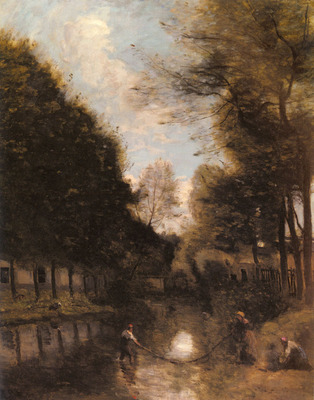 Corot Jean Baptiste Camille Gisors Riviere Bordee D arbres