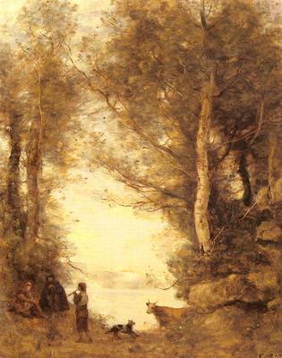 Corot Jean Baptiste Camille Le Joueur De Flute Du Lac D Albano