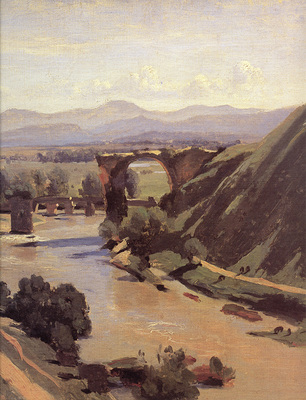 Corot The Augustan Bridge at Narni detail