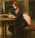 Corot Jean Baptiste Camille Fillete A L etude En Train D Ecrire