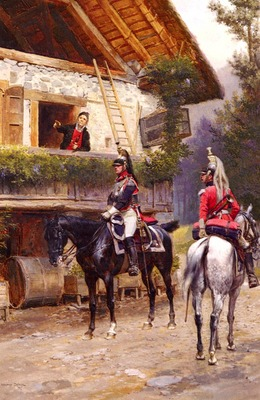 Detaille Jean Baptiste Edouard Mounted First%20Empire Dragoons In Front Of A Country House