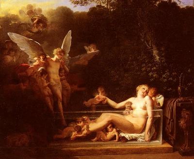 Mallet Jean Baptiste Une Nymphe Au Bain, Environnee D Amours