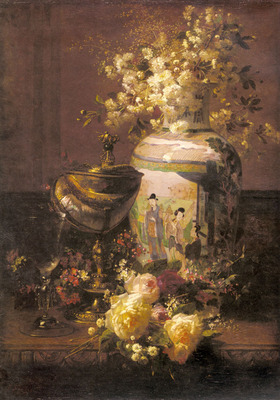 Robie Jean Baptiste Still Life With Japanese Vase And Flowers