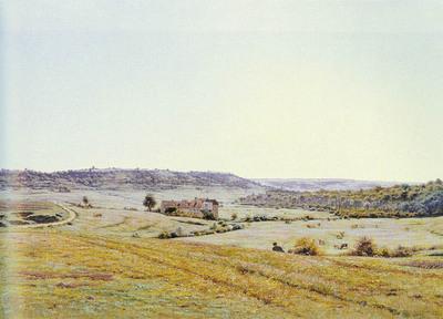 Monchablon Jean Ferdinand A YOUNG SHEPHERD IN AN EXTENSIVE LANDSCAPE