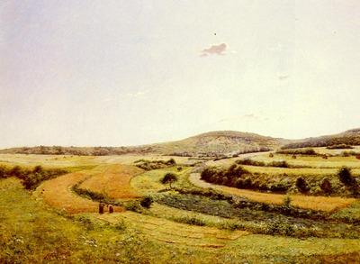 Monchablon Jean Ferdinand Harvesters In An Extensive Landscape