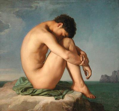 Flandrin Hippolyte Jeune homme assis au bord de la mer