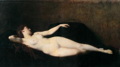 henner jean jacques donna sul divano nero