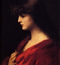 Henner Jean Jacques Study Of A Woman In Red