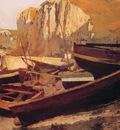 Barques au pied dune falaise en Normandie