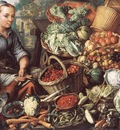 BEUCKELAER Joachim Market Woman With Fruit Vegetables And Poultry