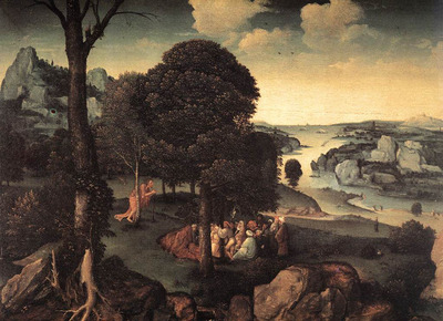 PATENIER Joachim Landscape With St John The baptist Preaching