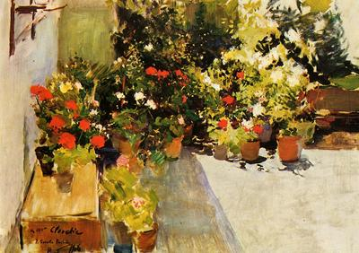 Sorolla y Bastida Joaquin A Rooftop with Flowers