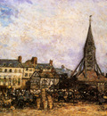 Jongkind Johan Barthold The Market At Sainte Catherine Honfleur