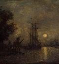 Jongkind Johan Berthold Holandaise Landscape with Docked Boat