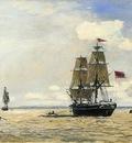 Jongkind Johan Berthold Norwegian Naval Ship Leaving the Port of Honfleur