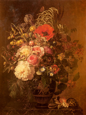 Jensen Johan Laurentz A Still Life With FlowersIn A Greek Vase