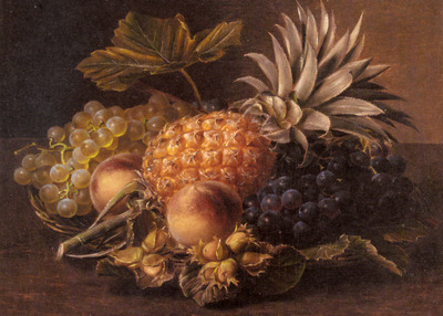 Jensen Johan Laurentz Grapes a Pineapple Peaches and Hazelnuts In A Basket